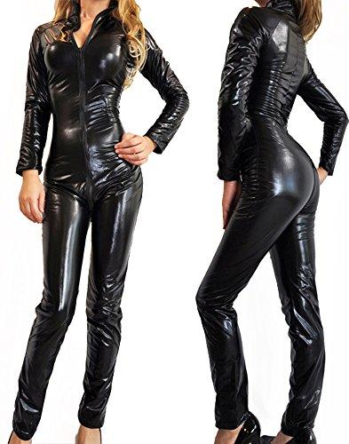 Nawty Fox Sexy Gothic Black Wet Look Metallic Catsuit Fetish Bodysuit Superhero Costume ()