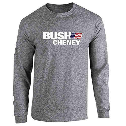 Bush Cheney Sticker - Pop Threads George W Bush Dick Cheney President Campaign Retro Graphite Heather M Long Sleeve T-Shirt