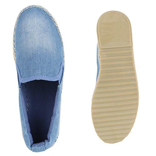 Damen Slipper Denim Metallic Slip Ons Glitzer Espadrilles Bast Pailletten Schleifen Lack Plateau Schuhe Sommerschuhe Strass Flandell Blau Jeans