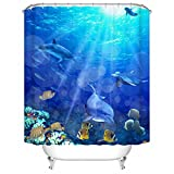Bright Fish Shower Curtain Sea&Cloud The Ocean Shower Curtain Set By, The dolphin And Fishes Are Swimming Cheerfully In Sea That has Beautiful Coral Under The Bright Sunshine,72W X72L Inches,Blue