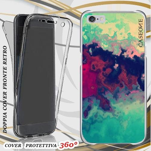 CUSTODIA COVER CASE COLOR ABSTRACT PER IPHONE 6 PLUS FRONT BACK
