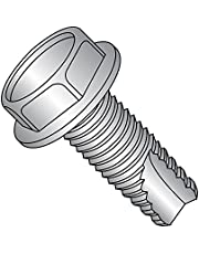 """18-8 Stainless Steel Thread Cutting Screw, Plain Finish, Hex Washer Head, Type 23, 1/4""""-20 Thread Size, 1/2"""" Length (Pack of 10)"""