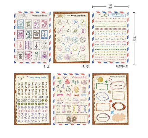 YPSelected Set von 6 Sheets Craft Dairy Deco Aufkleber Papier Stempel Aufkleber Scrapbook Geschenk