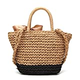 Womens Straw Summer Beach Shoulder Bag Tote Handbag Cotton Lining Top Handle Hobo Handbag for Girls (Brown and Black)