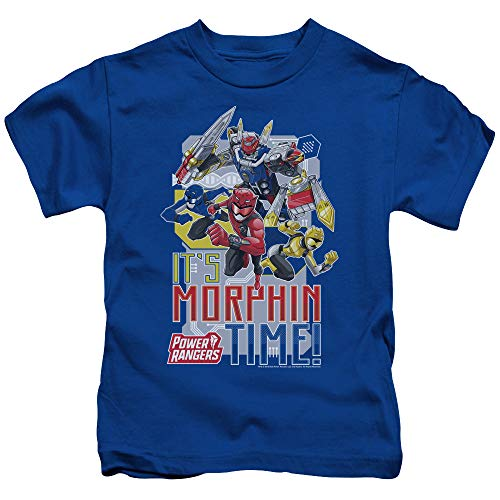 Power Rangers Morphin Time Unisex Youth Juvenile T-Shirt for Girls and Boys, Medium Royal Blue
