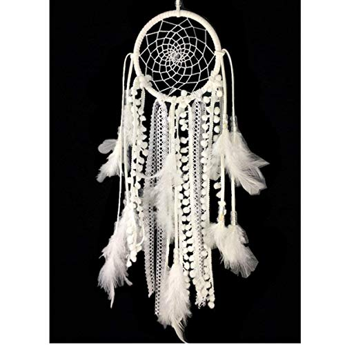 Dremisland Dream Catcher Handmade Traditional White Feather Wall Hanging Car Hanging Home Decoration Ornament Decor Ornament Craft Gift (White -