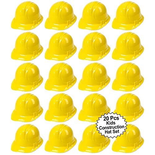 Toy Construction Hard Hats | 20 Pcs. Soft Plastic Yellow Kids Party Hat | Children's Engineer, Building Dress Up Hats | Theme Favor Caps | By Anapoliz