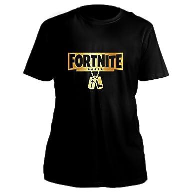 9d0e46f66 Mens Womens Unisex Fortnite Black Gold Dog Tag Battle Royale Gamer Gaming Top  T-Shirt (S): Amazon.co.uk: Clothing