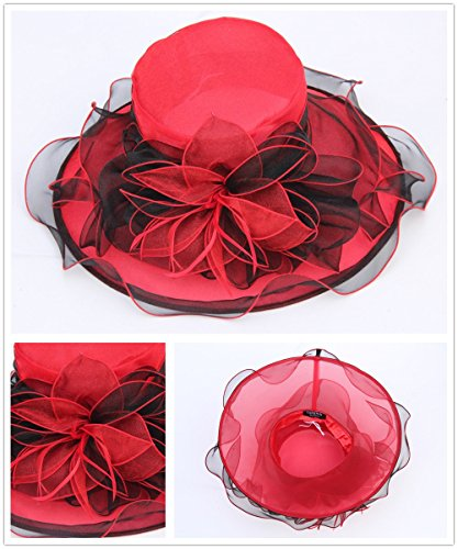 SAFERIN Women's Organza Church Kentucky Derby Cap British Two Tone Tea Party Wedding Hat Ruffles Feather (Black and Red)