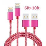 iPhone Cable, MCUK 6Ft+10Ft Lightning Cable Charging Cord Nylon Braided Apple USB Cable for iPhone 7/7 Plus/6s plus/6s/6 Plus/6, iPhone 5 5s 5c SE, iPod, iPad Mini, iPad Pro (6ft+10ft Pink+Gold)