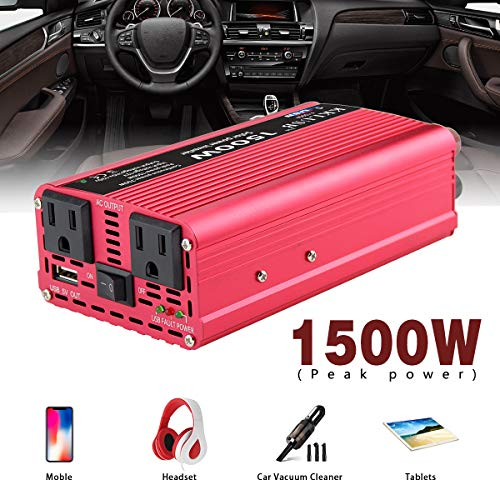 KKLUSB Solar Power Inverter Peak Power 1500W DC 12V to AC 110V Converter Car Charge Controller with Smart High Speed 2.1A USB and Dual AC Outlets Red