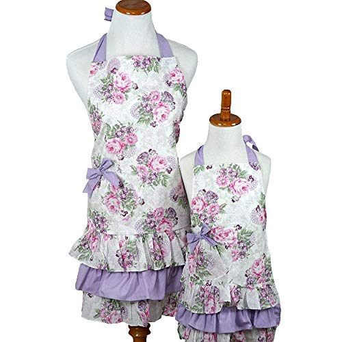Bumblebee Linens Mommy Daughter Purple and Pink Matching Hostess Kitchen Cloth Apron Set with Pockets Woman Toddler Girl - Apron Mothers