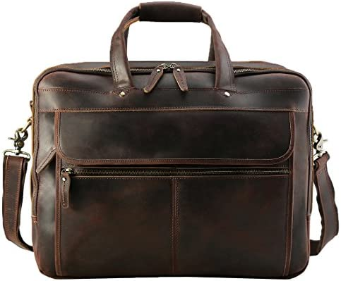 Polare Men s Thick Full Grain Leather 17.3 Laptop Business Briefcase with YKK Metal Zippers