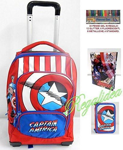 Mochila trolley escuela capltan America Marvel + Estuche 3 pisos + Diario + Escudo 2017 y 2018: Amazon.es: Oficina y papelería