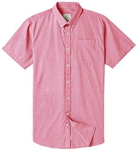 Men's Short Sleeve Oxford Button Down Casual Shirt by MOCOTONO