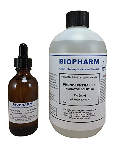 Phenolphthalein Indicator 1% Solution 500 ml (16 oz) Bottle plus 1 Dropper Bottle (2 oz) containing 50 ml of (Containing Solutions)