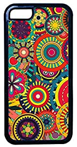 Generic Trippy Psychedelic Flower Pattern Colorful Cell Phone Case for iPhone 5C Rubber Black