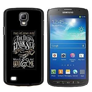 LECELL--Funda protectora / Cubierta / Piel For Samsung Galaxy S4 Active i9295 -- Profundo Texto del Mar Negro Oscuro Cartel --