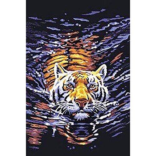 DIY 5D Diamond Painting by Number Kits, Full Drill Crystal Rhinestone Embroidery Pictures Arts Craft for Home Wall Decoration Tigers Cross The River 11.8 x 15.0 (Tiger Wall Mirror)