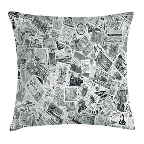 Ambesonne Modern Decor Throw Pillow Cushion Cover, Vintage Black and White Image of Large World Postage Stamps Travel Hobby Theme Art, Decorative Square Accent Pillow Case, 16 X 16 Inches, Grey