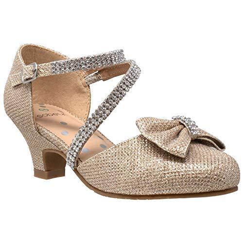 SOBEYO Girls Dress Shoes Rhinestone Bow Accent Kitten Low Heel Sandals Gold Size 2