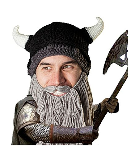 Barbarian Beard Hats Viking Horns Vagabond Beanie Cap, Men's Classic Foldaway Pillager Knit Beard Cap Novelty Sports Headwear Halloween Christmas Costume Gift (Grey Beard) ()