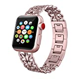 Apple Watch Band 38mm, Swees Jewelry Jewels Cowboy Style Stainless Steel Metal Link Replacement Wristbands for Apple Watch Series 1 , Series 2, Series 3, Sports & Edition Women Girls, Rose Gold