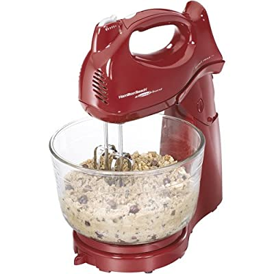 Red 6 Speeds Stand Mixer 4-quart bowl Includes beaters, whisk and dough hooks