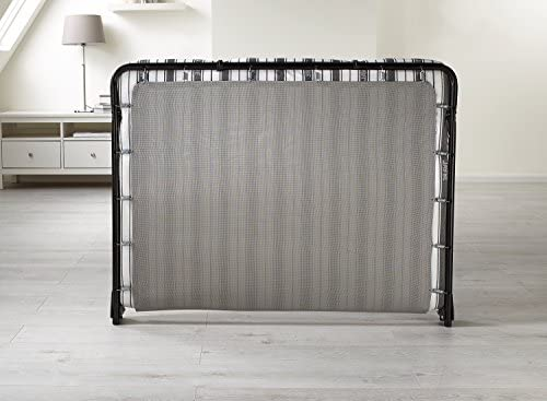 JAY-BE Value Folding Bed with Airflow Fibre Mattress, Fabric, Black, Small Double