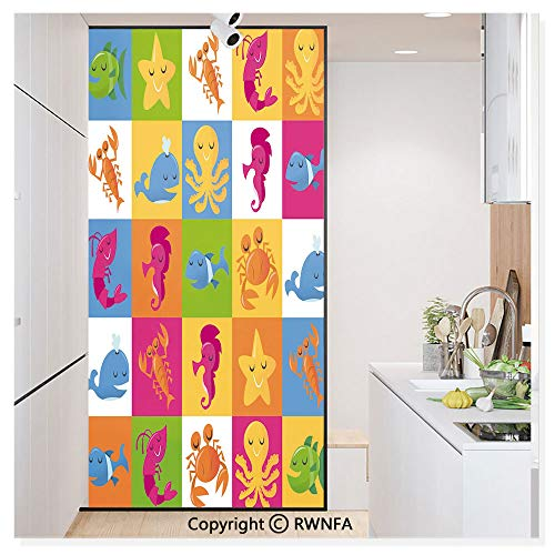 Window Glass Sticker Door Mural Cute Underwater Animals Sea Octopus Crab Whale Starfish Dolphin Prawn Illustration Static Cling Privacy No Glue Film Home Decorative 11.8x59.8inch,Multicolor