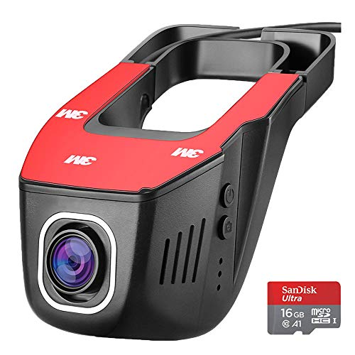 WiFi Dash Cam Pro Full HD 1080P Car Dash Camera Dashboard with WiFi G-Sensor WDR Loop Recording 16 GB Card