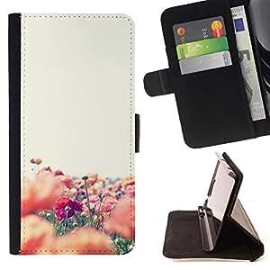 """For Samsung Galaxy S6 Active G890A,S-type Colorful Flower Field Naturaleza"""" - Dibujo PU billetera de cuero Funda Case Caso de la piel de la bolsa protectora"""