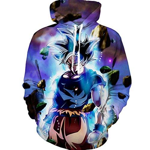 CHENMA Men Dragon Ball 3D Print Pullover Hoodie Sweatshirt with Kangaroo Pocket (Color 21, M/US S) -