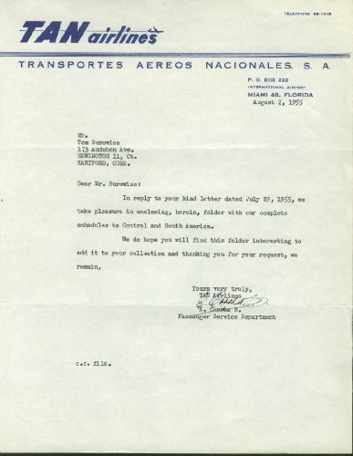 TAN Airlines Transportes Aereos Nacionales airline letterhead ()