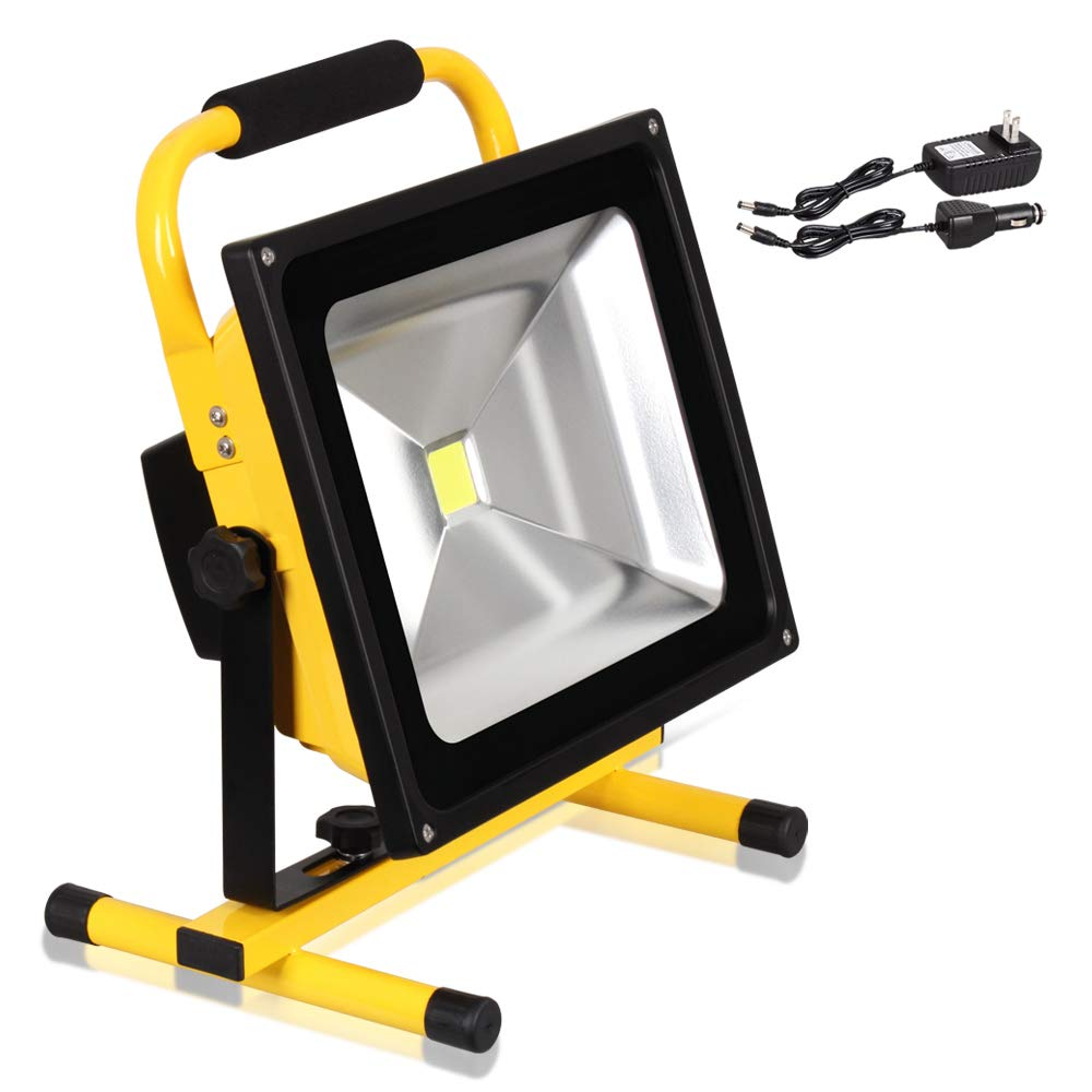 T-Sun 50W LED Rechargeable Portable Work Light, Waterproof LED Flood Light, Security Emergency Lights with Adapter & Car Charger Included, for Outdoor Camping Fishing, Working
