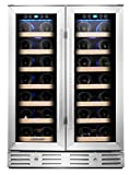 Kalamera Wine Cooler – Fit Perfectly into 24 inch Space Under Counter or Freestanding – Dual Zone – For Kitchen or Bar with Blue Interior Light and Temperature Memory Function Review
