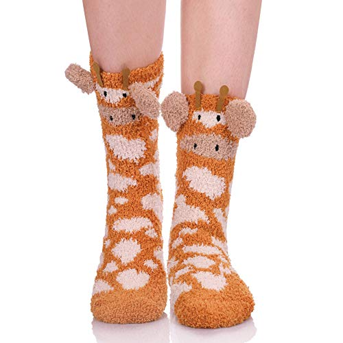 Giraffe Gift - LANLEO Womens Girls Soft Fuzzy 3D Cute Animal Sleeping Winter Warm Slipper Socks 1 Pairs Giraffe