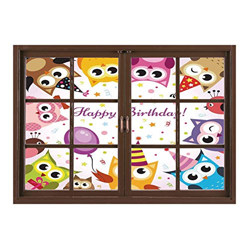 SCOCICI Removable 3D Windows Frame Wall Mural Stickers/Birthday Decorations for Kids,Party Owl Family with Colorful Cone Hats on Confetti Backdrop,Multicolor/Wall Sticker Mural
