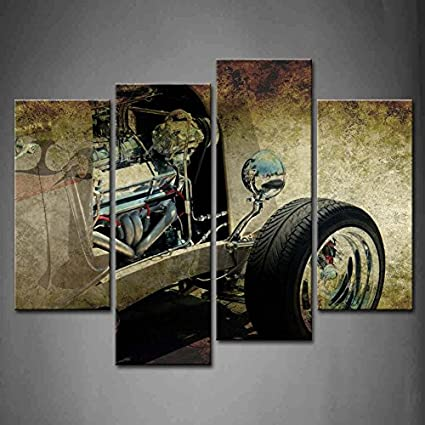 Amazon.com: First Wall Art - 4 Panel Wall Art Hot Rod In Grungy Old ...