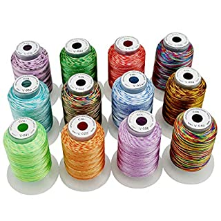 New brothread 12 Colors Variegated Polyester Embroidery Machine Thread Kit 500M (550Y) Each Spool for Brother Janome Babylock Singer Pfaff Bernina Husqvaran Embroidery and Sewing Machines-Assortment1