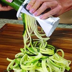 EC Life@ S&S Vegetable spiral slicer carrot cucumber noodle julienne vegetable cutter peeler kitchen piece grater cooking tool slicer twister (white)