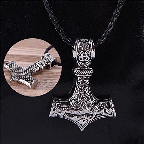 - 1pc Thors Hammer Norse Magick Mjolnir Viking Pendant Genuine Leather Necklace PU6J