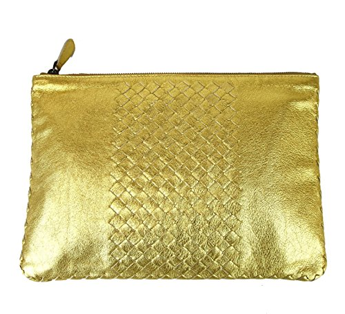 Bottega Veneta Gold Leather Clutch Woven Pouch Bag 302294 (Bottega Veneta Woven Handbag)