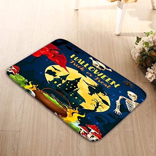area rugs Indoor floor mat outdoor washable foot print bathroom hall carpet kitchen area rug 23.6 x 15.7 halloween castle dracula monsters ghost halloween trick treat party autumn holiday horror house