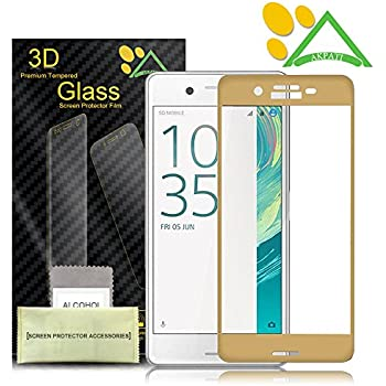 Sony Xperia XA Screen Protector, Akpati 3D Full Coverage Tempered Glass Screen Protector Perfect Fit for Sony Xperia XA - Gold