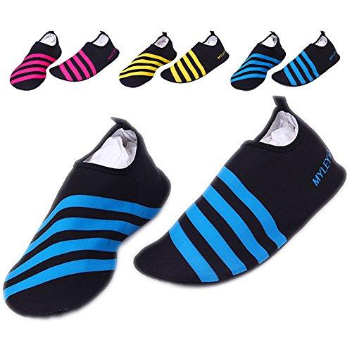 Barerun Barfuß Quick-Dry Frauen Männer Wasser Schuhe Haut Aqua Socken für Schwimmen Beach Pool Surf Yoga Sport Übung Streifen blau