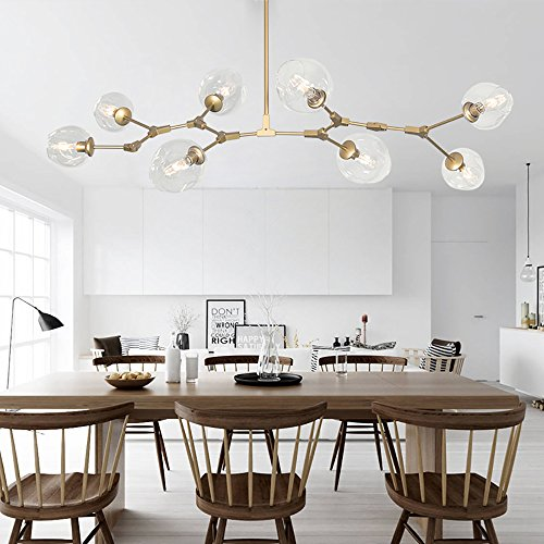 Colorled Nordic American Retro Creative Art Tree Branches Transparent Glass Bubble Ball 8 Light Chandeliers Restaurant Gold Aluminum Alloy Living Room Pendent Lights