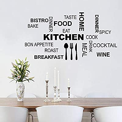 Decalmile Kitchen Food Quotes Wall Decals Black Wall Letters