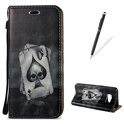 Samsung Galaxy S8 Plus Wallet Case [Free Black Touch Stylus],KaseHom Cool Fashion 3D Pattern Design Folio Magnetic Flip Stand PU Leather Protective Case Cover Skin Shell,Ace of (Touch Halloween Victoria)