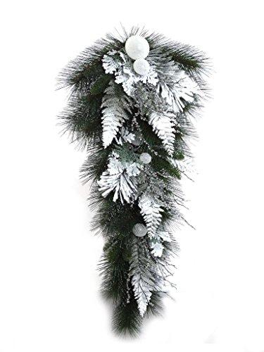 Larksilk 32'' Artificial Snow Ball Pine Teardrop Swag by Larksilk